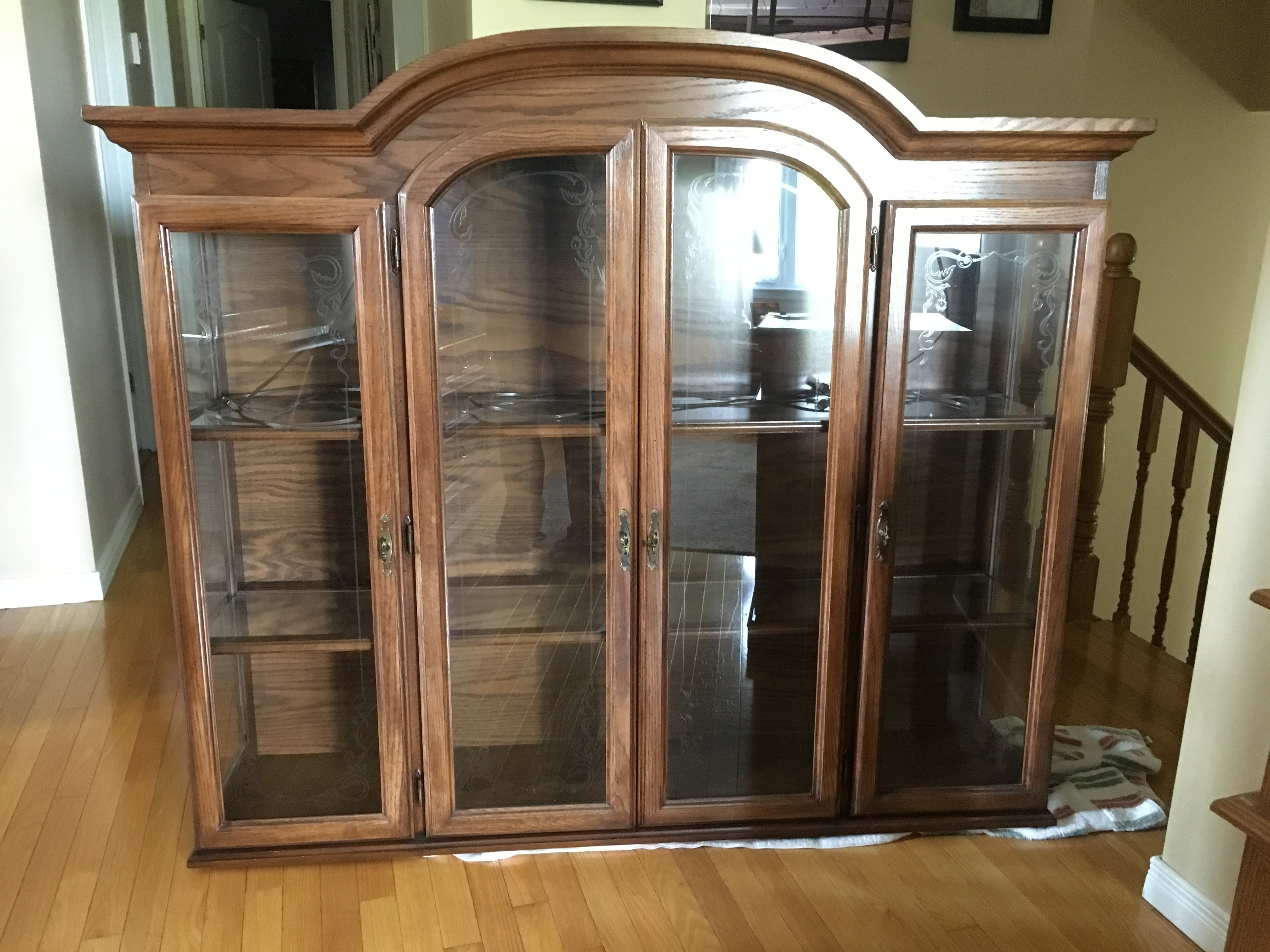 Beautiful Solid Oak Curio Cabinet